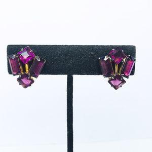 Vintage Sterling Art Deco Rhinestone Earrings